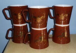 SET (6) VTG PYREX 1410 BROWN & GOLD LEAF FEDERAL EAGLE COFFEE MUGS CUPS D-HANDLE