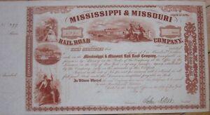 1850s-JOHN-A-DIX-Signed-Stock-Certificate-Mississippi-amp-Missouri-Rail-Road-Co