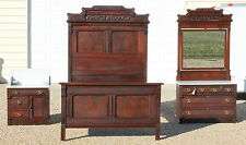 Eastlake Victorian 3pc Burl Walnut Marble Top Bedroom Set~ Green-man Pulls wKey
