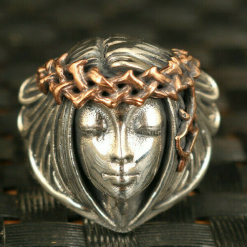 Fine S925 silver hand casting belle beautiful girl ring collectable gift