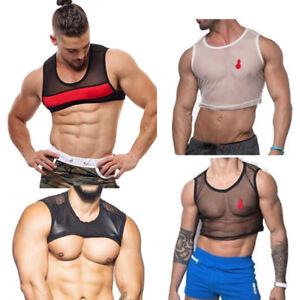 830702c417140 Men See-through Mesh Bodybuilding Tank Top Gym Singlet Muscle ...