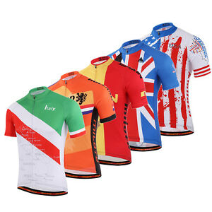 Men-039-s-Cycling-Team-Shirts-Short-Sleeve-BIcycle-Cycle-Road-Bike-Jersey-Tops-S-5XL