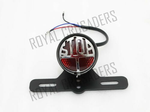 CODE1495 MILLER TYPE STOP REAR TAIL LIGHT FOR VINTAGE BIKES WITH FIXING BRACKET