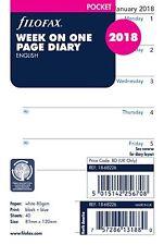 Filofax Pocket Size 2018  Week Per Page White Diary Insert Refill 18-68226