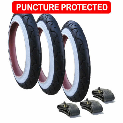 Puncture Protected Genuine Phil /& Ted Dot Tyres with inner tubes Set of 3 10/""
