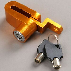 Motorcycle Security Anti-theft  Brake Disc Wheel Rotor Lock with 2 Keys Set Gold