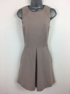 WOMENS-AX-ARMANI-EXCHANGE-BEIGE-EMBROIDERED-SLEEVELESS-FIT-amp-FLARE-DRESS-SIZE-0