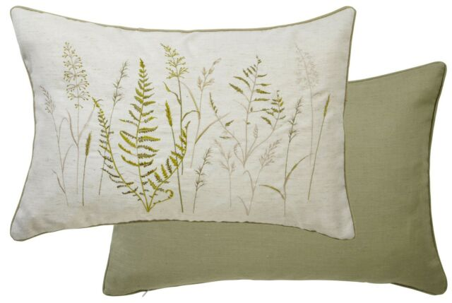 FERN FLORAL GREEN 60CM X 40CM EMBROIDERED LINEN BLEND FEATHER FILLED CUSHION