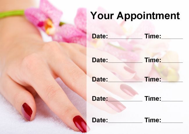 Pretty Nail Salon Manicure Pedicure Personalised Appointment Cards