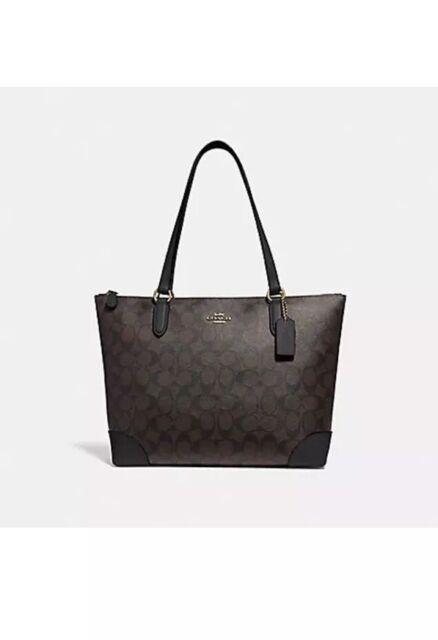 79cc998cd2367c AUTHENTIC Coach F29208 Zip Top Tote Signature Canvas Handbag Black Brown  $275