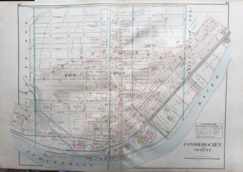 1893 MONTGOMERY COUNTY LIME ST ATLAS MAP PENNSYLVANIA CONSHOHOCKEN LIGHT ST