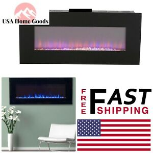 Cool Details About Black Led Fire And Ice Electric Fireplace With Remote 42 In Wall Mounted Home Interior And Landscaping Sapresignezvosmurscom