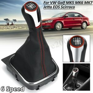 6-Speed-Gear-Shift-Knob-Lever-Stick-w-Gaitor-Boot-Cover-For-VW-Golf-6-MK5-MK6