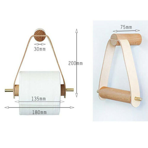 Home Toilet Paper Roll Holder Wood Bathroom Tissue Dispenser Wall Mounted Tool