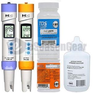 COM-100 + PH-200 + PH-STOR + PH-BUF + C342 PPM COMBO HM Digital PH/TDS/EC Meter