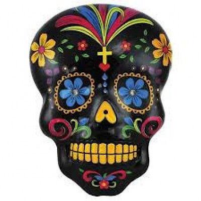 20 water slide nail art transfer decals black sugar skull with blue flower eyes