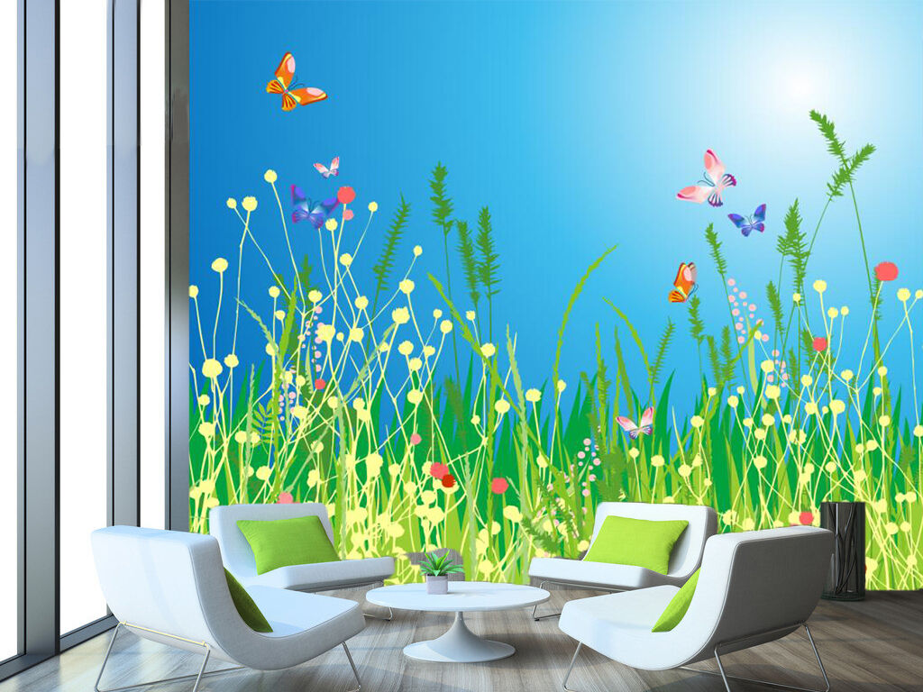 3D Green Grass Butterfly 8 Wall Paper Wall Print Decal Wall Deco Art Indoor Wall