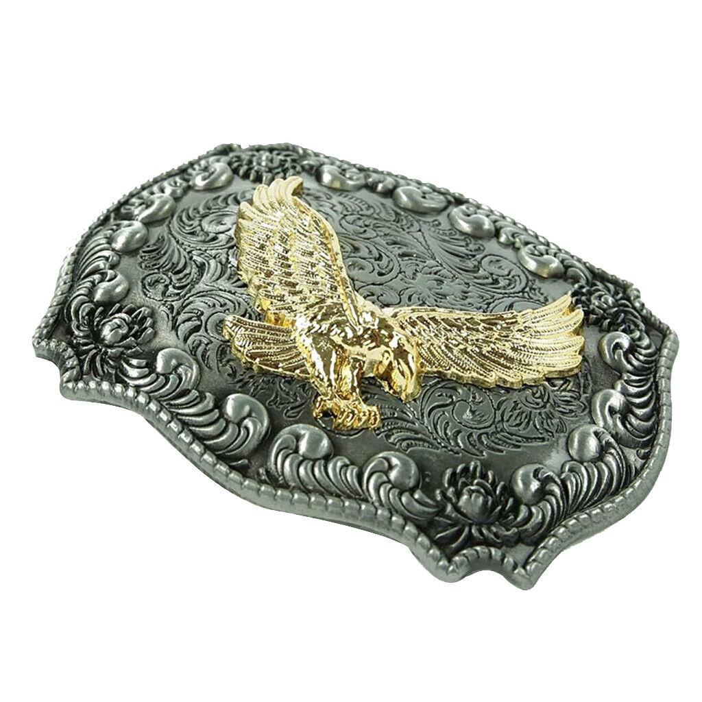 Vintage gravierte Golden Eagle Gürtelschnalle Charm Herrenschmuck