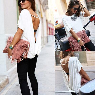 Women Sexy Fashion Loose Chiffon Backless Tops Short Sleeve Shirt Casual Blouse