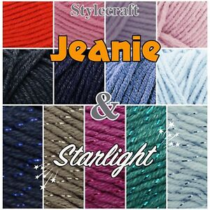 Stylecraft-JEANIE-STARLIGHT-Aran-Cotton-Acrylic-Knitting-Wool-Yarn-100g-Ball
