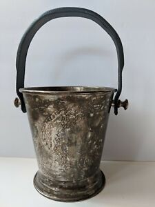 Silver-Plate-Wine-or-Champagne-Ice-Bucket-With-Handle-Made-in-India-7-034-Tall