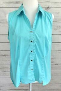 Dressbarn-Top-Womens-XL-Blue-Solid-Button-Sleeveless-Collared-Cotton-Stretch