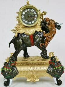 Antique 19thC French 8 Day Gilt Metal Elephant & Tiger Figural Mantle Clock