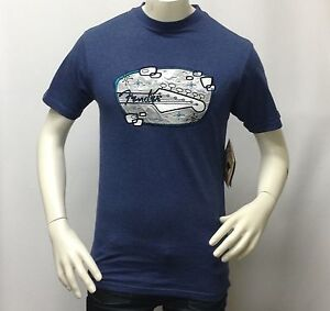 Fender-Men-039-s-Vintage-Retro-Music-Embroidered-Graphic-T-Shirt-50s-Art-Deco