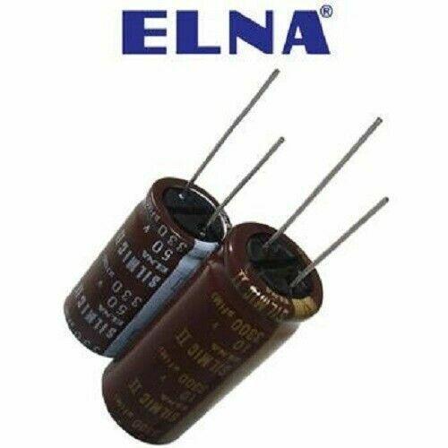 Elna SILMIC II Audio Capacitor 2200uF 16 V New Silk Long Leaded 18x40 NEUF 2pcs