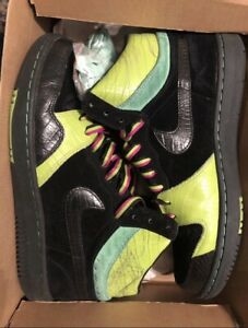 Nike-Court-Force-Hi-Black-Chartreuse-Size-UK10-Vvnds