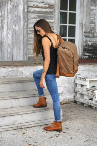 Globetrotter midcentury Details about  /Backpack  convertible canvas vegetable tanned leather