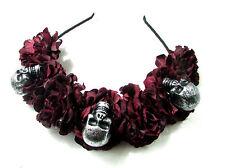 Black Dark Red Sugar Skull Flower Hair Crown Headband Goth Rose Halloween Vtg 16
