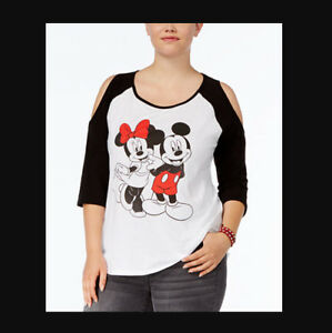 f368c3a5 DISNEY NWT Cold Shoulder MICKEY MINNIE MOUSE Shirt Womens PLUS 1X 14 ...