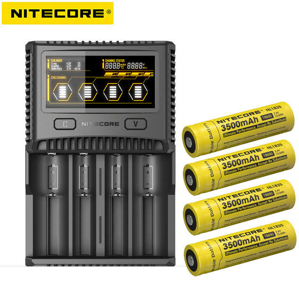 New Nitecore SC4 SuperB LCD battery charger + 4X nitecore 3500mah Batteries