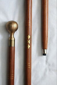 LUCKY-4-LEAF-CLOVER-INLAY-WOOD-CANE-FREE-S-H-Walking-Stick-BRASS-KNOB-37-034-New