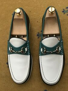 f61f6b8e042 Gucci Mens Shoes White Green Black Horsebit Loafer UK 8.5 US 9.5 ...