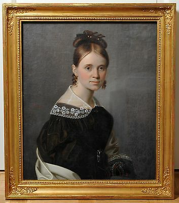 Antique 1830's oil painting on canvas Portrait of Lady by Klunder