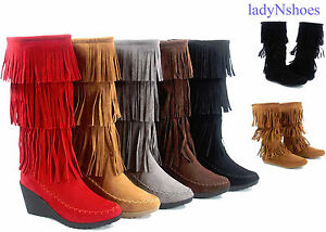 New-Women-Fringe-Moccasin-Wedge-Flat-Zipper-Mid-Calf-Knee-High-Boot-Size-5-5-10