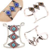 Women's Vintage Bohemian Black Onyx Rhinestone Silver Plated Cuff Bracelets Hot