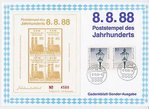 Jahrhundertstempel-8-8-88-8-8000-Muenchen-80-Gedenkblatt-mit-Vignette
