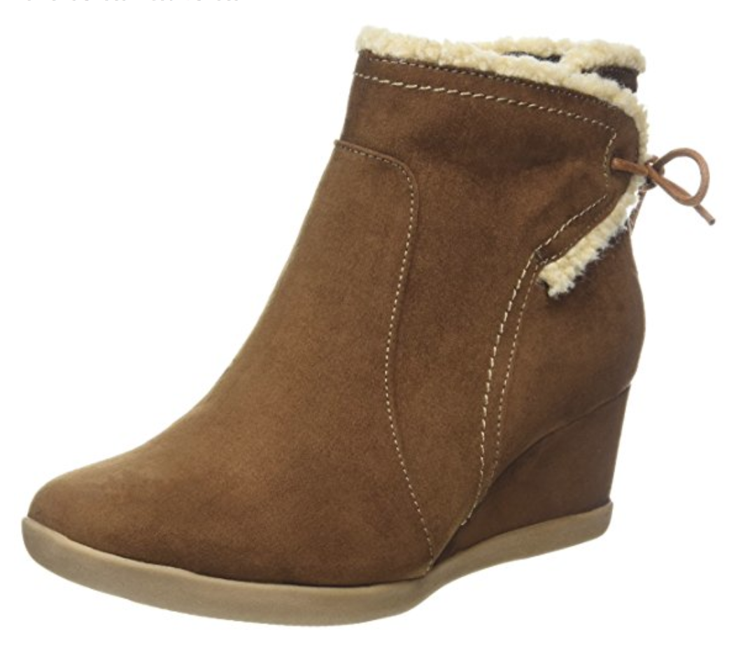 Evans Fit Alicia Womens Extra Wide Fit Evans UK 8 EEE Wedge Heel Fur Trim New Ankle Boots b798e4