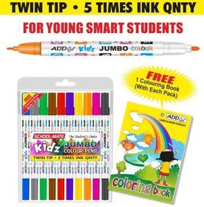 10 Bright  Colour Jumbo  Pen Twin Tip Brush Pen set  /& Free A6 Mini colour Book