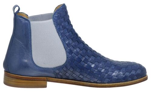 Stiefeletten Damen Boots Leder Gallucci Indigo Mädchen Blau 5445 3441 Chelsea f6gyb7