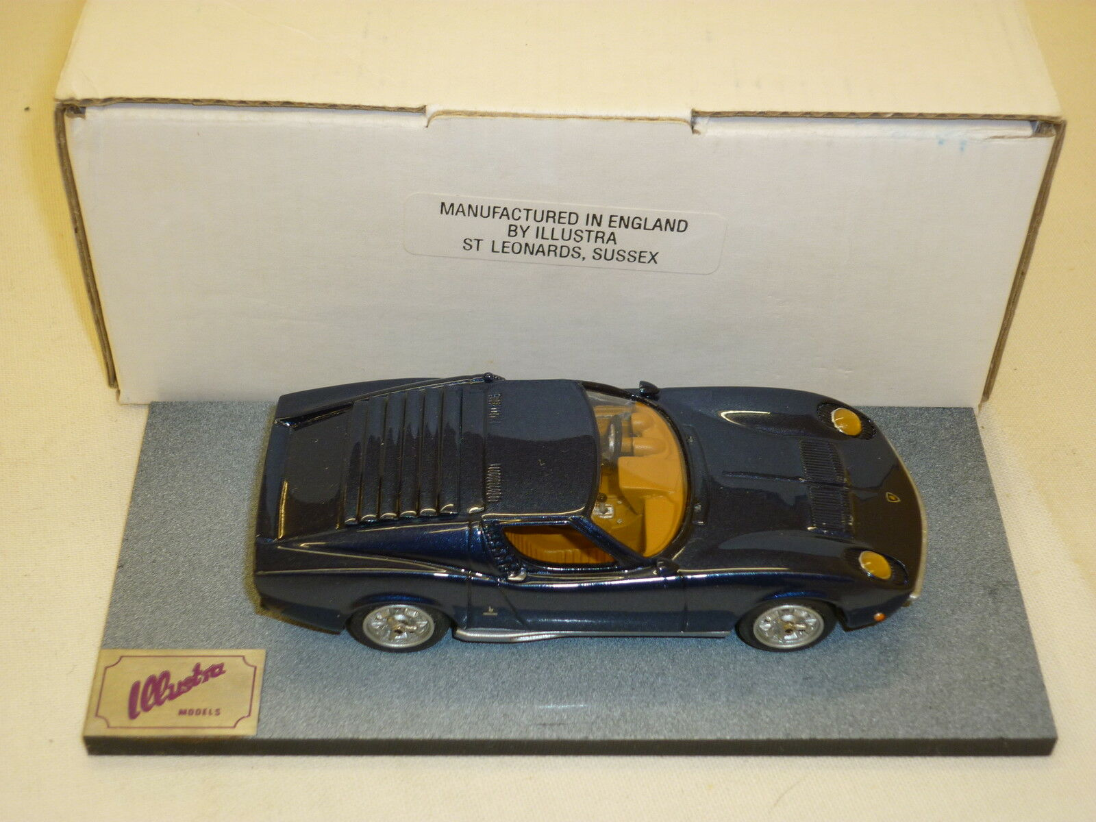 A Illustra models of a Lamborghini MIURA. bluee, boxed