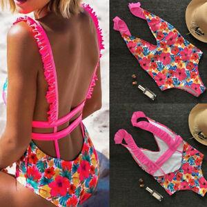 Womens-One-Piece-Swimwear-Monokini-Push-Up-Padded-Bra-Swimsuit-Beachwear-Bikini
