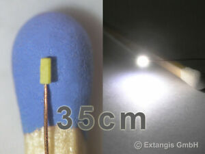 SMD LED 0401 PUR WEISS Cu-Draht 35 cm XL super tiny white + long magnet wire wit