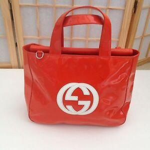 Image Is Loading Vintage Gucci Handbag Orange Patent Leather W White