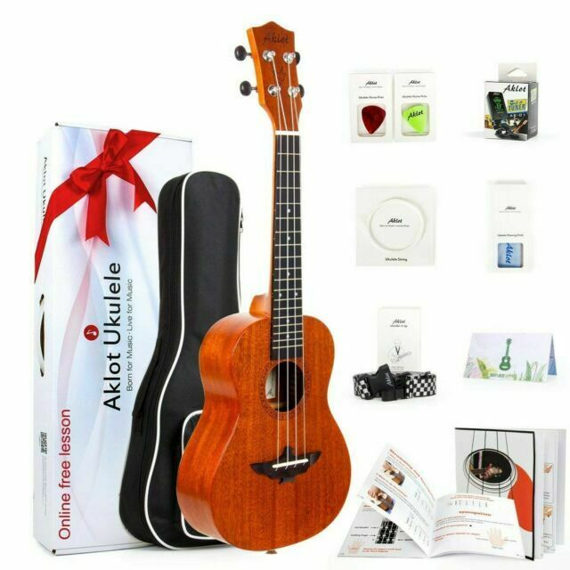Aklot 23 Inch Solid Mahogany Concert Ukulele Starter Kit For Sale Online Ebay