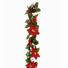 Christmas Poinsettia Chainlink Garland Red and Green 180cm/6ft