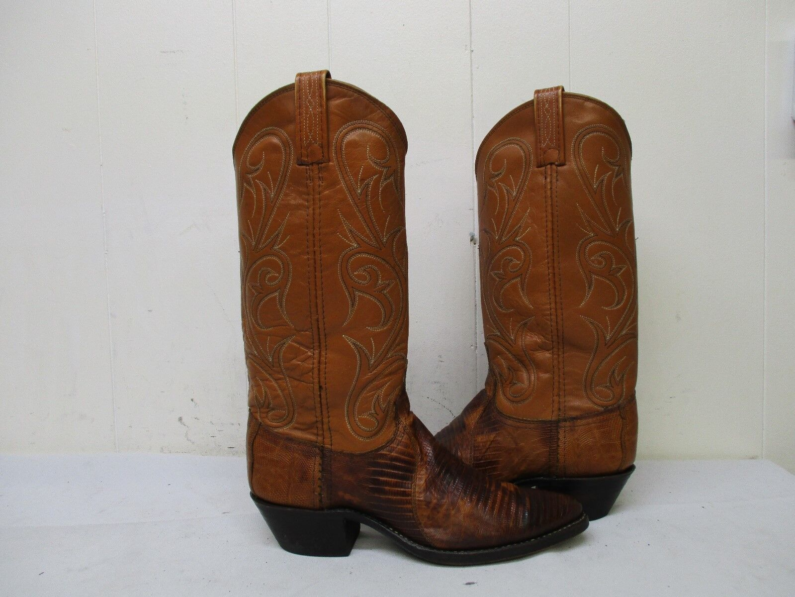 DAN POST Cognac Brown Lizard Leather Cowboy Boots Womens Size 6.5 M Style 14023